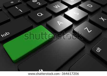 Three dimensional render of a black keyboard with copyspace