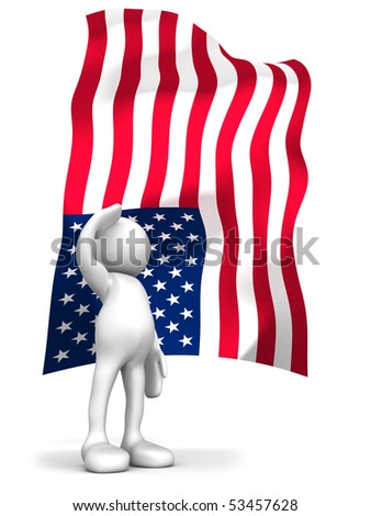 Three dimensional render of a cartoon human figure, saluting with the American flag in the background. 4th of July celebrations