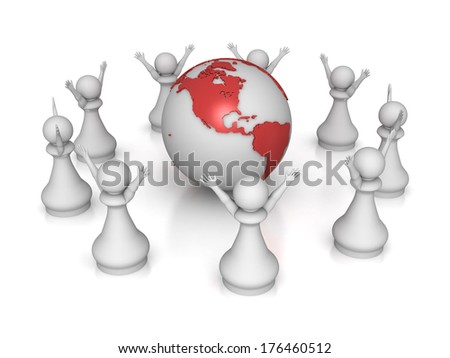 Three dimensional render of a group of pawns around the globe. Concept for Global. - stock photo