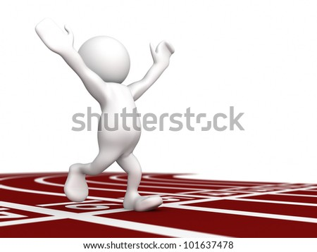 Three dimensional render of a human figurine running with hands aloft