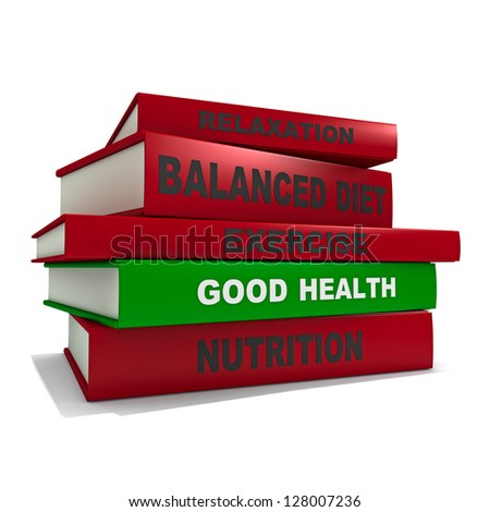 Three dimensional render of a pile of books for the concept of good health - stock photo