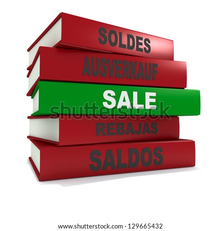 Three dimensional render of a pile of books for the concept of sale