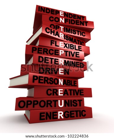 Three dimensional render of a pile of books that make up the word ENTREPRENEUR - stock photo
