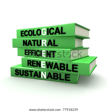 Three dimensional render of a pile of books. The titles of these books are subjects that refer to a green way of living and dealing with our resources. - stock photo