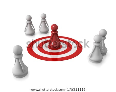 Three dimensional render of a red pawn being targeted. Concept for target. - stock photo