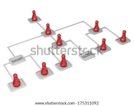 Three dimensional render of a red pawn in an organizational chart. Concept for work. - stock photo