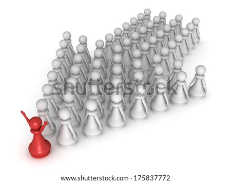 Three dimensional render of a red pawn leading a team in the right direction. Concept for success and teamwork. - stock photo