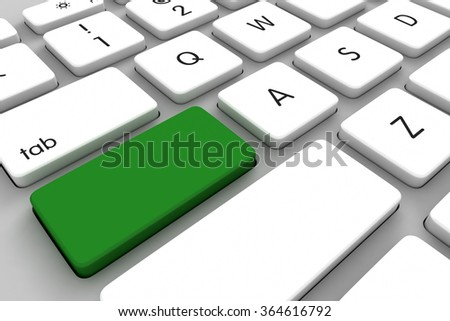 Three dimensional render of a white keyboard with copyspace
