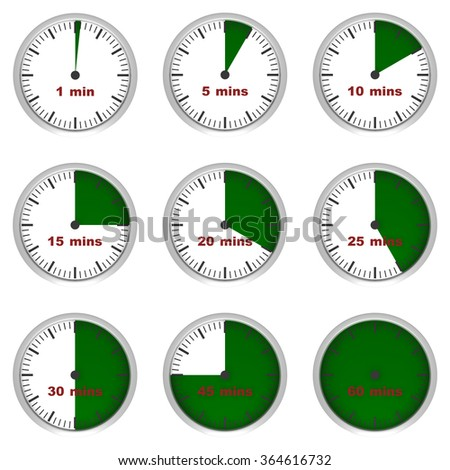 Three dimensional render of clock showing segments of an hour - stock photo