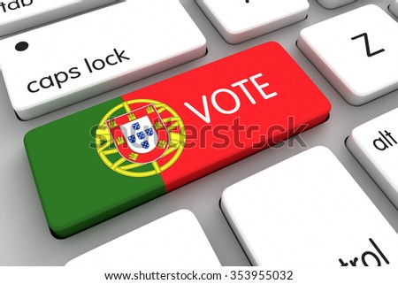 Three dimensional render of concept for Portugal elections 2016 - stock photo