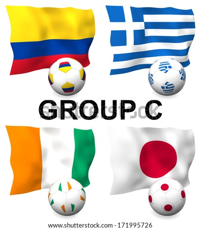 Three dimensional render of Group C of the worlds greatest soccer competition to be held in 2014 - stock photo