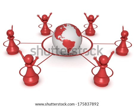 Three dimensional render of 6 red pawns delighted surrounding the globet. Concept for global. - stock photo