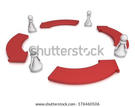 Three dimensional render of 4 red pawns working together. Concept for Teamwork. - stock photo