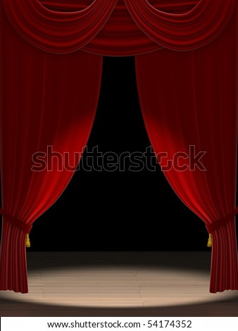Three dimensional render of red velvet theater curtains with a spotlight on stage - stock photo