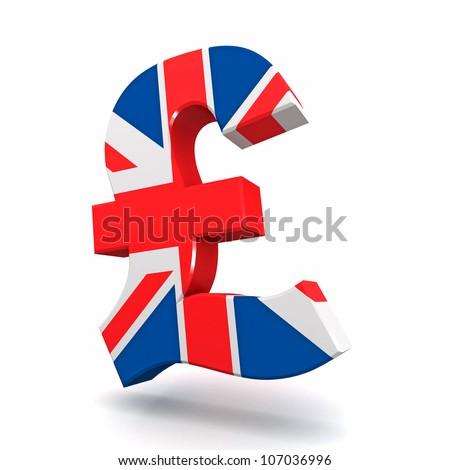 Three dimensional render of the British Pound symbol - stock photo