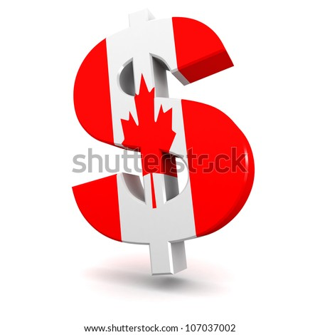 Three dimensional render of the Canadian Dollar symbol - stock photo