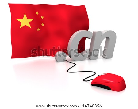 Three dimensional render of the Chinese domain and flag connected to a mouse - stock photo