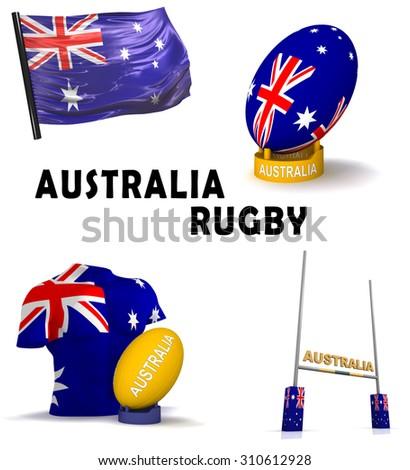Three Dimensional Render Symbols Australian Rugby Stock Illustration