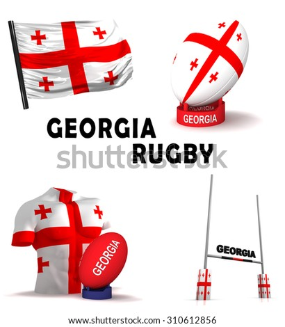 Three dimensional render of the symbols of Georgian rugby - stock photo