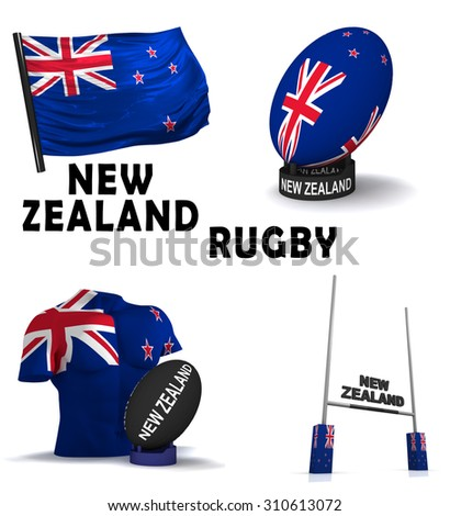 Three dimensional render of the symbols of New Zealand rugby - stock photo