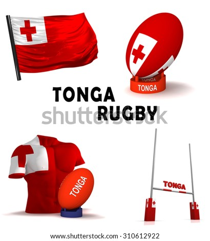 Three dimensional render of the symbols of Tongan rugby - stock photo