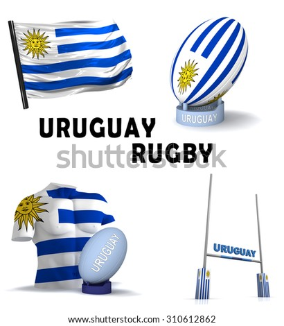 Three dimensional render of the symbols of Uruguayan rugby - stock photo
