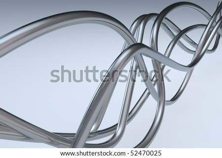 Three dimensional rendered abstract chrome wire background