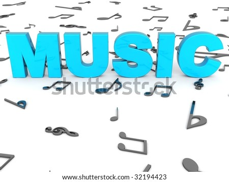 three dimensional rendered word of music on musical background - stock photo