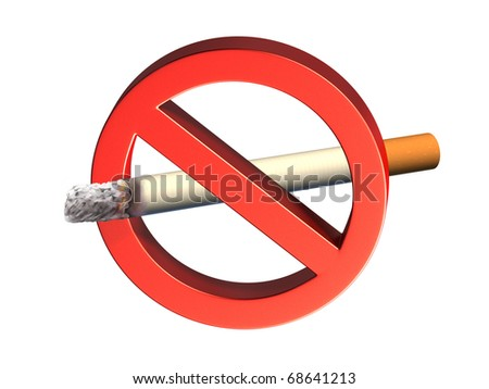 Three-dimensional rendering of a no smoking sign. Digital illustration. - stock photo