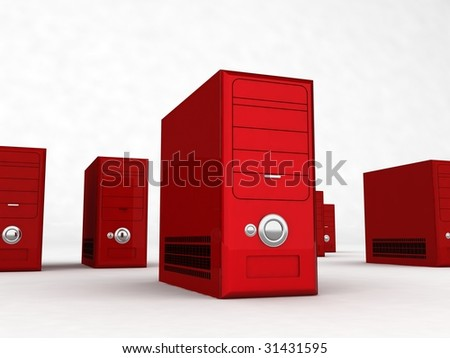 three dimensional rows of red cpu - stock photo
