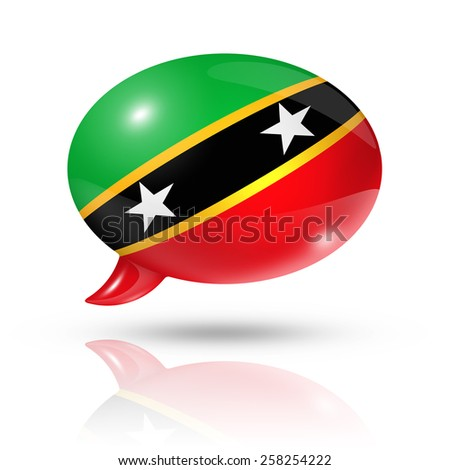 three dimensional Saint Kitts And Nevisflag in a speech bubble isolated on white with clipping path - stock photo