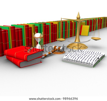 three-dimensional, scales, wooden mallet, hourglasses, books and other objects isolated on white background - stock photo