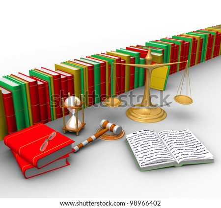 three-dimensional, scales, wooden mallet, hourglasses, books and other objects isolated on white background