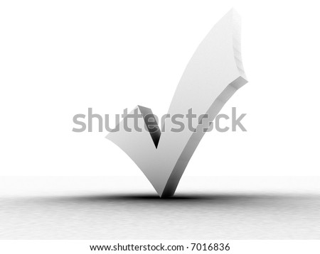 three dimensional shape white check mark - stock photo