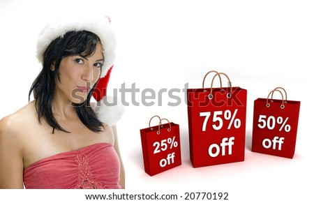 three dimensional shopping bags and sexy woman with santa hat on an isolated white background - stock photo