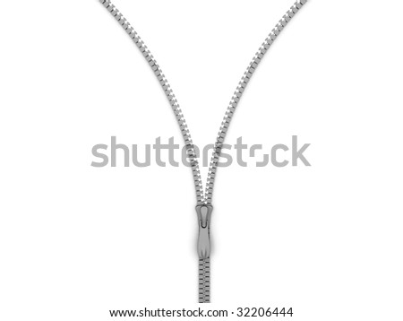 three dimensional silver zip with white background - stock photo