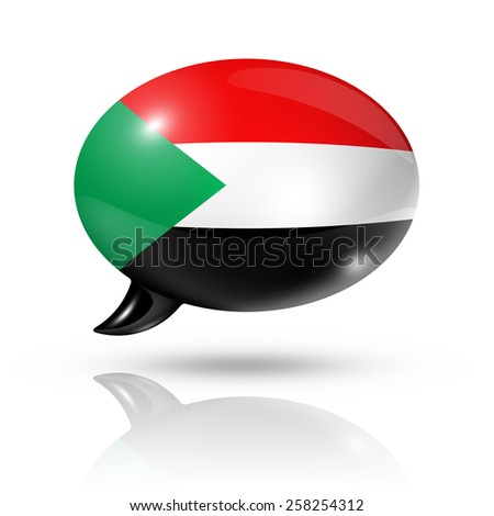 three dimensional Sudan flag in a speech bubble isolated on white with clipping path - stock photo