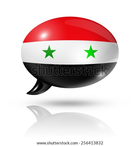 three dimensional Syria flag in a speech bubble isolated on white with clipping path - stock photo