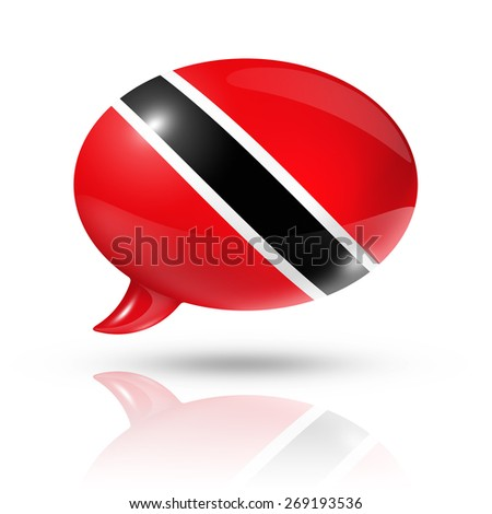 three dimensional Trinidad And Tobago flag in a speech bubble isolated on white with clipping path - stock photo