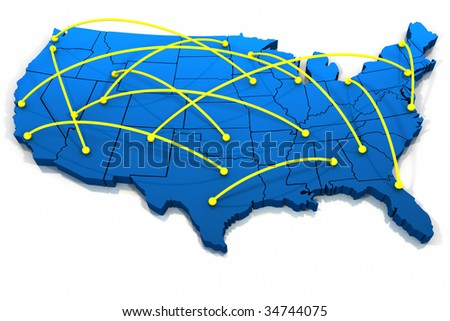 Three dimensional United States blue tone connecting lines on white background. - stock photo