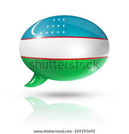 three dimensional Uzbekistan flag in a speech bubble isolated on white with clipping path - stock photo