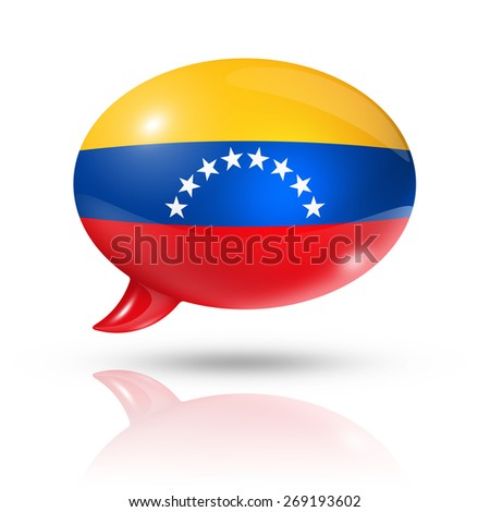 three dimensional Venezuela flag in a speech bubble isolated on white with clipping path - stock photo
