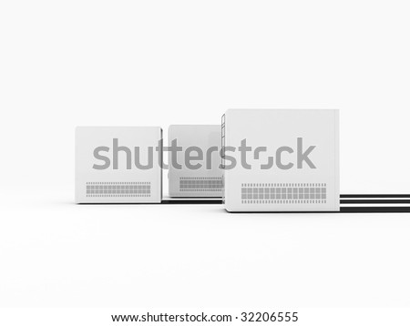 three dimensional white cpu in row - stock photo