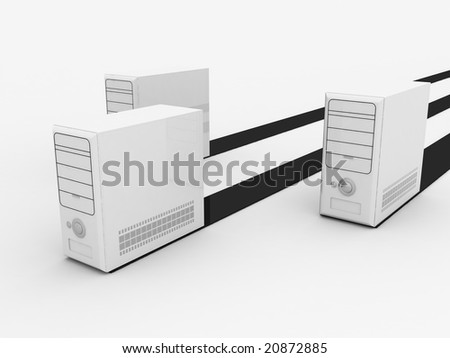 three dimensional white cpu with black stripes - stock photo