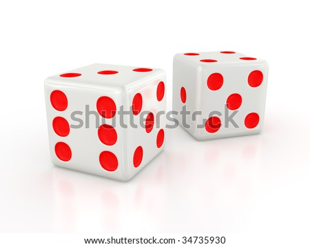 Three-dimensional white dice isolated on white with shadow - stock photo