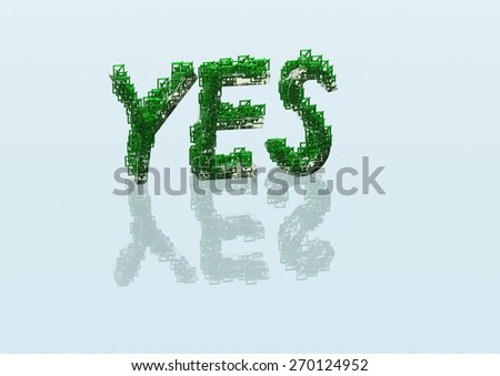 Three Dimensional word yes made from a set and question marks - stock photo