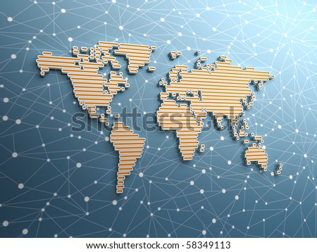 Three dimensional world map made of long rectangular structures - showing global networking - stock photo