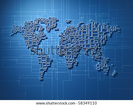 Three dimensional world map made of simple rectangular structures - showing global networking - stock photo