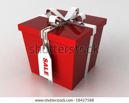 three dimensional wrapped gift box with sale tag on an isolated white background - stock photo