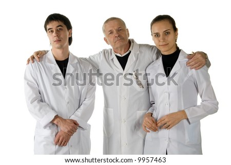 Three doctors. It is isolated on a white background.